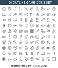 game icons. Trendy 100 game icons. Contain icons such as Dice, boxing gloves, horse chess, football ball, basketball, golf player, golf stick, joystick. game icon for web and mobile.