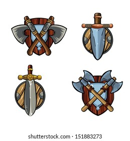 Game icons. Viking's emblem. Cartoon weapons. Medieval weapons