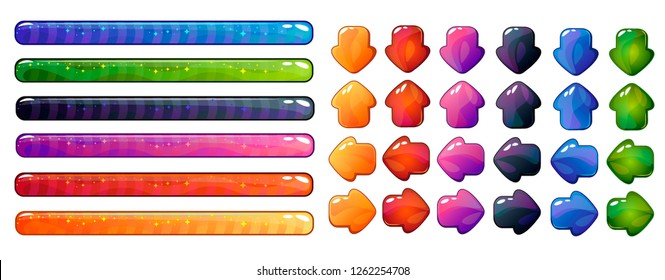 Game interface elements. Progress bar end arrow buttons. Game resource bar. Vector illistration.  Different color set. Isolated on white background.