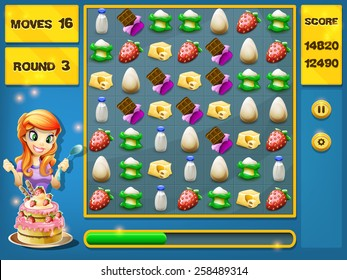 Game interface foods for Match 3 Games. Vector illustration.