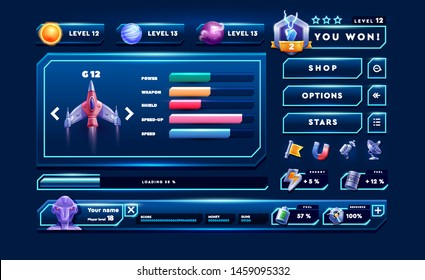 Game interface kit great for 2D mobile games. Space game elements.