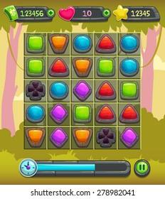 Game interface screen, including board, gemstones elements, cash, lives, xp panels, time bar, landscape background.