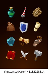 game items set. vector ancient icons for rpg