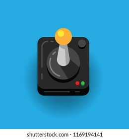 Game joystick console isolated on blue background, vector icon. Retro video game controllers. Vector illustration retro joystick , game play concept
