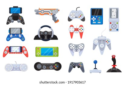 Game joystick icons and gamers gadgets technology, controller set of vector illustrations. Electronic video gamepad, computer devices. Gameing console collection for digital play, entertainment.