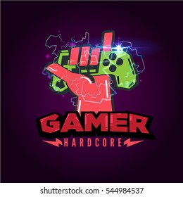 game joystick with love hand sign. logotype for gamer or game reviewer. . Vector illustration