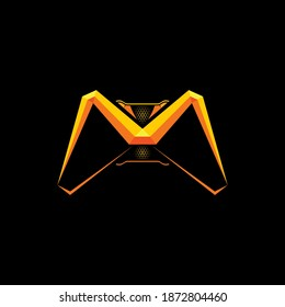 Game joystick shape of letter M with embossed effect. For esport gaming logo and or initial name.