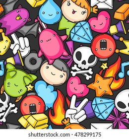 Game kawaii seamless pattern. Cute gaming design elements, objects and symbols.