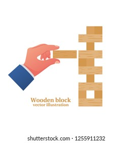 Game for kids and adults. Wooden block stack holding in hand. Vector illustration flat design. Isolated on white background. Table game.