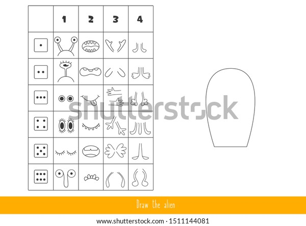 Game for kids with dice. Roll the dice and draw the alien.