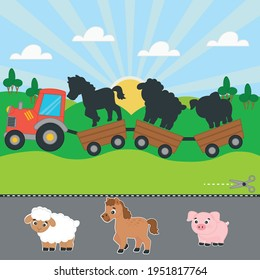 Game for kids. Farm. The tractor carries a pig, a foal, a sheep. Cut and glue. Worksheet for children. Activity for presсhool years kids and toddlers.