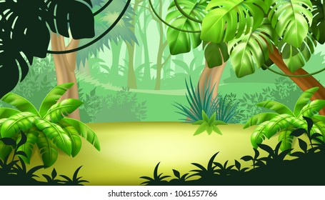 Game landscape with tropical jungle scene. Background vector illustration.