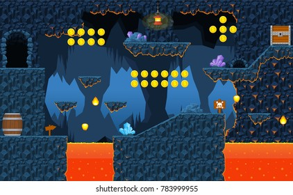 Game level design with volcano and hot lava theme for adventure games