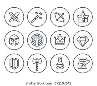Game line icons on white, RPG, fantasy, swords, magic wand, bow, castle, helmet, armor, potion