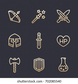 Game line icons set, RPG, fantasy items, swords, axe, magic wand, shield, bow, helmet, potion, vector illustration