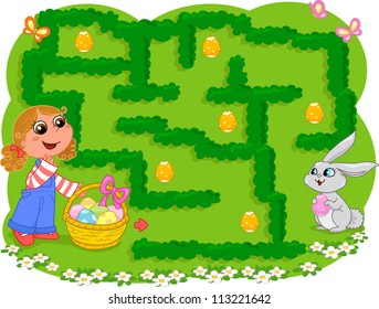 Game for little children. How many Easter eggs can the girl collect before going to the bunny?