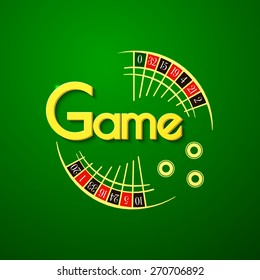 Game logo, casino typography design, roulette vector illustration on green background
