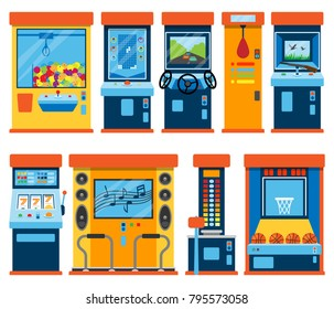 Game machine arcade vector gambling games in casino gamesome gambler or gamer bet in gaming computer machinery gameplay claw a toy or play old console illustration isolated on white background