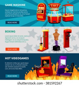 Game machine banners with hot video games boxing and slot machines flat vector illustration
