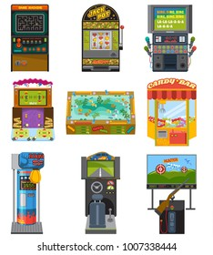 Game machine vector arcade gambling games hunting fishing boxing and dancing where gamesome gambler or gamer play in gaming computer machinery illustration isolated on white background