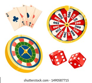 Game for making or losing money vector, isolated set of playing cards. Dice and roulette of different types. Betting and laying bets, fortune and risks