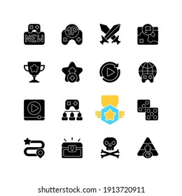 Game menu black glyph icons set on white space. Videogame interface silhouette symbols. Computer and mobile gaming signs. Electronic entertainment, popular pastime. Vector isolated illustrations