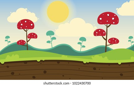 Game modern style background with mushroom summer day