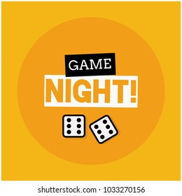Game Night Typography With Two Dice Rolling Sixes
