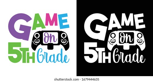 Game On 5th Grade Printable Vector Illustration