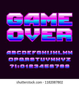 Game over alphabet font. Pixel letters and numbers. 80s arcade video game typeset.