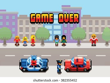 Game Over - car stopped by the police pixel art video game style retro layer illustration