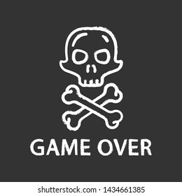 Game over chalk icon. Virtual video game end, finish, failure. Skull with crossbones. Esports, cybersports sign. Computer game fail, loser. Cybersport. Isolated vector chalkboard illustration