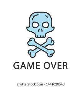 Game over color icon. Virtual video game level end, finish, failure. Skull with crossbones. Esports, cybersports sign. Computer game fail, loser. Cybersport. Isolated vector illustration