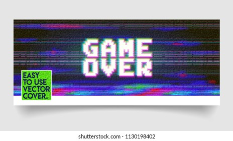 Game over cover phrase in pixel art style with screen glitch VHS effect. 80's and 90's style. Retro vintage TV screen. Gamer panel basic platform. Color half-shifted letters.