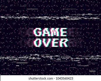 Game over glitch background. Retro game backdrop. Glitched lines noise. VHS effect for your design. Pixel inscription. Modern vector illustration.
