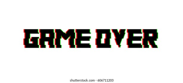 Game over glitch design. Vector