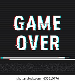 Game Over glitch text. Anaglyph 3D effect. Technological retro background. Vector illustration. Creative web template. Flyer, poster layout. Computer program, console screen, retro arcade.