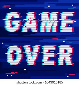 """""""Game Over"""" Glitch Text, distorted letters, originally created on neat Vector Graphic Art Technique."""