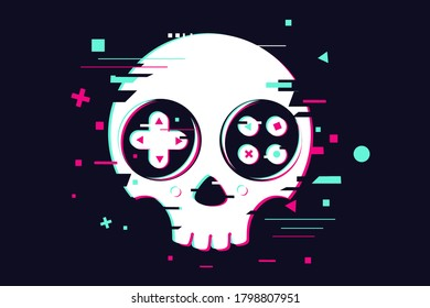Game over glitchy sign with skull and gamepad. Video game symbol. Gamer poster.