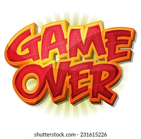 Game Over Icon For Ui Game/ Illustration of a cartoon design game over icon for game user interface