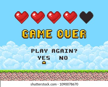 Game over pixel art arcade game screen vector illustration. Arcade retro banner, digital pixel 8-bit
