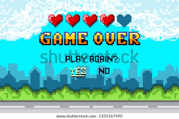 """game over Pixel art design with city landscape background. Colorful Pixel arcade screen for game design. Banner with lives and phrase """"play again?"""". Retro game design concept."""