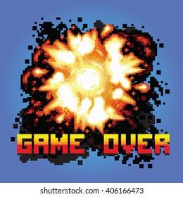 game over pixel art explosion game illustration