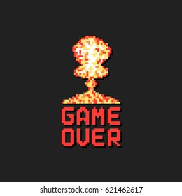 game over with pixel art explosion. concept of level final in virtual gaming or classic user interface for online videogames in pixelart style
