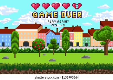 "Game over pixel are design with city landscape, sky and trees. Pixel inscription ""Game over.Play again?"" with five hearts. Vector illustration."