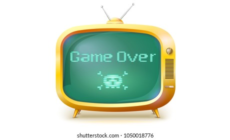Game over, pixel text, skull and bones on screen. Yellow TV set with message. Retro style of TV or computer game , 3D illustration isolated on white background