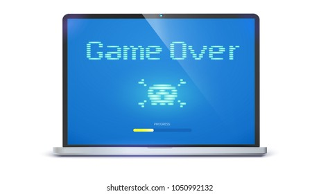 Game over, pixel text, skull and bones on screen. Laptop with message requiring attention. Retro style of TV or computer game , 3D illustration isolated on white background
