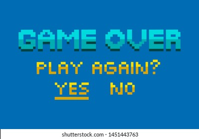 Game over, play again, choosing button yes or no on blue, finish level, final platform, classic and pixelated graphic of app, tap symbol, interface vector