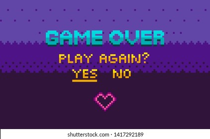 Game over and question of play again, yes or no choosing link, finish level page in purple color, pixelated graphic of final video-game, interface vector, 8 bit pixel text