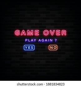 Game over and question of play again  yes or no choosing link. Design Template Neon Style